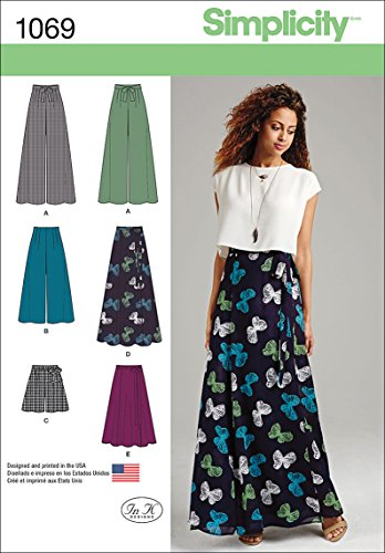 Simplicity 1069 Wide Leg Pants, Shorts, and Maxi Skirt Sewing Pattern for Women, Sizes 4-12