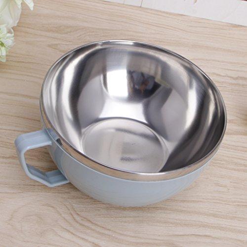Karrychen Edelstahl Nudelschale mit Griff Lebensmittelbehälter Reisschüssel Suppentassen