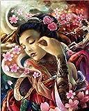 DZX Pintura de Bricolaje por números para Adultos y niños Kits de Pintura al óleo sobre Lienzo preimpreso Regalos Pintados a Mano Dormitorio Decoración de la casa - Tatuaje japonés Mujer y sakur