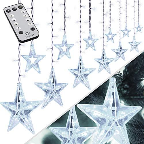 KESSER® Lichtervorhang 12 Sterne LED Lichterkette - mit Fernbedienung - 8 Leuchteffekte - Timer - Dimmfunktion - In- & Outdoor Regenkette Sternenvorhang Lichtervorhang - IP44 wasserdicht Kalt-weiß
