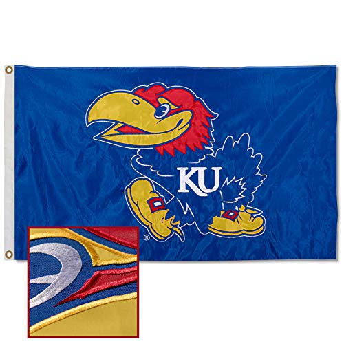 College Flags & Banners Co. Kansas Jayhawks Embroidered and Stitched Nylon Flag