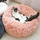 LONTG Calming Cat Bed Dog Bed Soft Plush Donut Pet Bed Cushion Cuddle Cat Bed Cozy Pet Nest Pet Sofa Round Basket Bed Sleeping Bed Mat For Small Dogs Cats Kitten Puppy Non-Slip Bottom 55cm