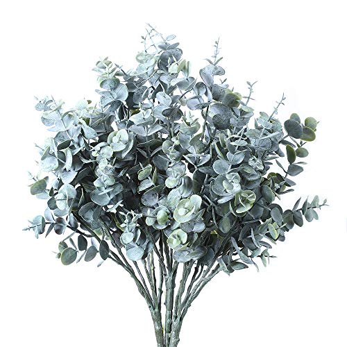 MEET ROSE 3 Pcs Artificial Eucalyptus Greenery with Stems Uv Resistant Faux Eucalyptus Plant Silver Dollar Eucalyptus Branches for Jungle Theme Party Wedding Courtyard Garden Outdoor Decoration