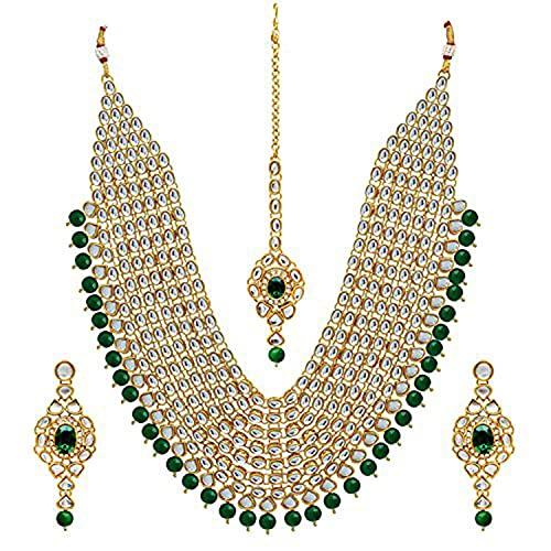 Aheli Colección Bollywood tradicional de la India de imitación Kundan perlas en capas de collar con pendientes Maang Tikka para mujeres y niñas verde