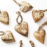 Logbuch-Verlag 10 ciondoli cuore legno marrone oro decorazione natalizia albero Natale matrimonio vintage addobbi cuore regali appendere Festività