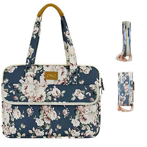 Super Slim & Expandable 14-15 Inch Laptop Tote Bag, Anti Theft Shoulder Bag Water-Repellent Laptops Briefcase Case Teacher Bag Gifts for Women, (3.7L-10.3L) -Peony-BU