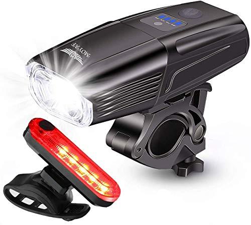 Moyaf USB-oplaadbare fietslampenset, 1000 lumen, smart led-fietslampen, gratis achterlicht, super helder fietslampje voor en achter, 4 lichtmodi, veiligheidssluiting