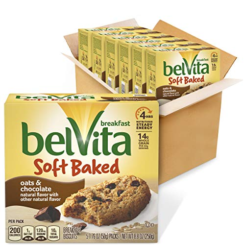 belVita Soft Baked Oats & Chocolate Breakfast Biscuits, 6 Boxes of 5 Packs (1 Biscuit Per Pack)