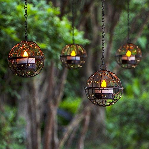 ZHONGXIN Solar Lights Outdoor Hanging Lanterns, Beaded Copper Wire Ball Candle Holder with Solar Tea Lights, Perfect for Home, Garden, Backyard, Pergola, Patio Umbrella, Tree, Window Decor-Set of 4