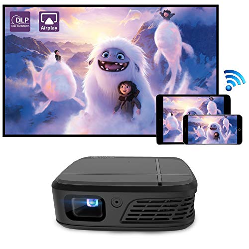 WIKISH Mini Portable Projector Small Pico 3D DLP Outdoor Movie Projector Wireless WiFi Home Theater with Battery for HDMI USB TV Stick PS4 Smartphone