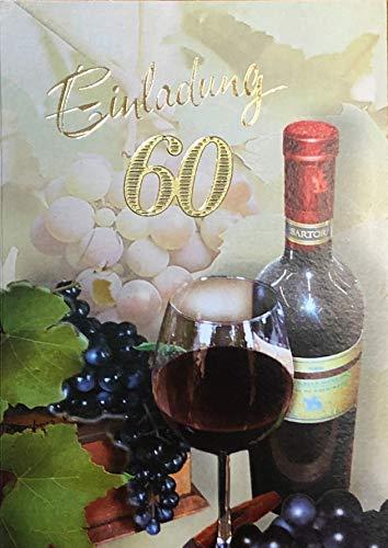 Uitnodigingskaarten 60e verjaardag vrouw man met binnentekst motief rode wijn 10 vouwkaarten DIN A6 staand met witte enveloppen in set verjaardagskaarten uitnodiging 60 verjaardag man vrouw K179