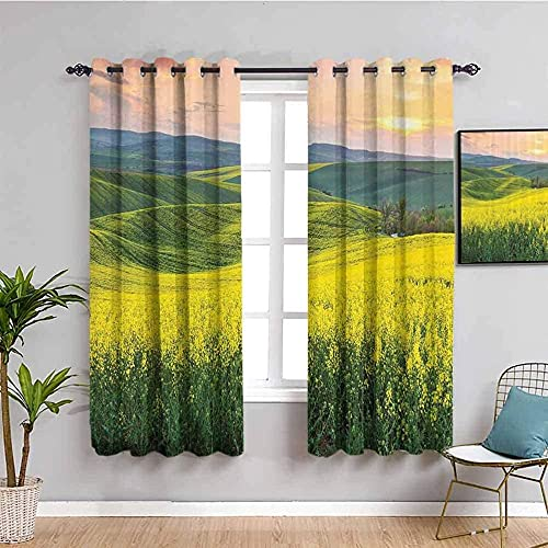 LTHCELE Blackout Curtains for Bedroom - Fields mountains sunrise grass - 3D Print Pattern Eyelet Thermal Insulated - 79 x 63 inch - 90% Blackout Curtains for Kids Boys Girls Playroom