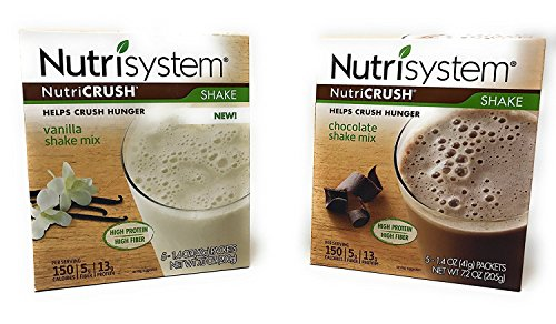 Nutrisystem Nutricrush Chocolate Shake Mix and Vanilla Shake Mix. 5 Packets Each one. (10 Total)