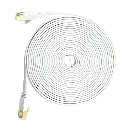 Cable Cat 7 Tipo de Red por Cable Home Office Hotel Flat a Internet por Cable Ethernet Plano Tipo, Blanco, 20 Metros