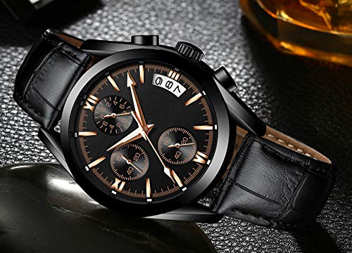 Voigoo Uhrmens Uhr-Spitzenmarken Men Casual Leder wasserdicht Chronograph-Mann-Sport-Quarz-Taktgeber Relogio Masculino