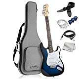 Ashthorpe 39-Inch Electric Guitar (Blue-White), Full-Size Guitar Kit with Padded Gig Bag, Tremolo Bar, Strap, Strings, Cable, Cloth, Picks
