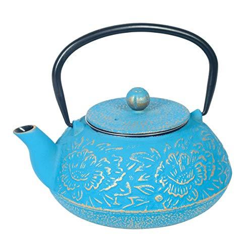 Vidal Regalos Tetera con Filtro Infusor 1,2L Hierro Fundido Azul Oriental Japonesa Etnica 19 cm