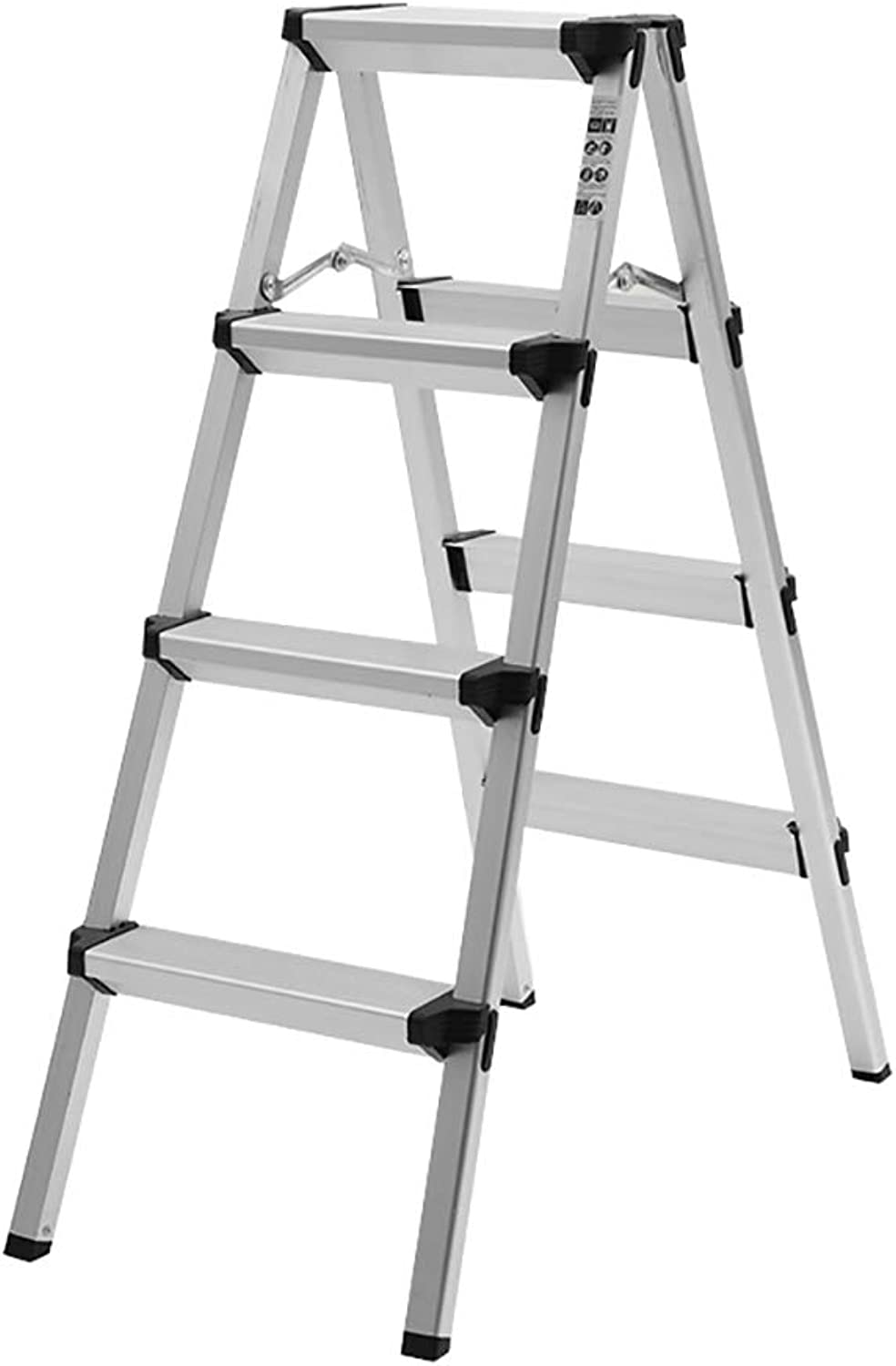 Qing MEI Ladder Household Folding Ladder Aluminum Alloy Thickening Indoor Ladder Four Or Five Step Ladder Stool Multi-Function Escalator Stairs A+ (Size   4 Steps)