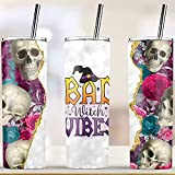 Bad Witch Vibes 20 oz Skinny Tumbler - Halloween Tumbler, Gift for Halloween, Witch Stainless Steel Tumbler (20 Oz Tumbler) -  BabyBoy Store
