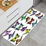 Cocina Antideslizante Alfombras de pie Mariposas de Colores Set Vector Decoración de Piso Confortables para el hogar, Fregadero, lavandería-120cm x 45cm