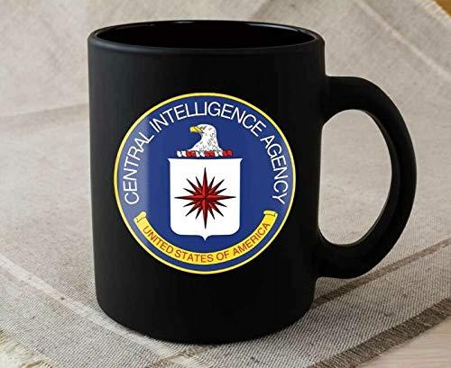 CIA Central Intelligence Agency United States USA C.I.A Kaffeetasse, Keramik, Schwarz