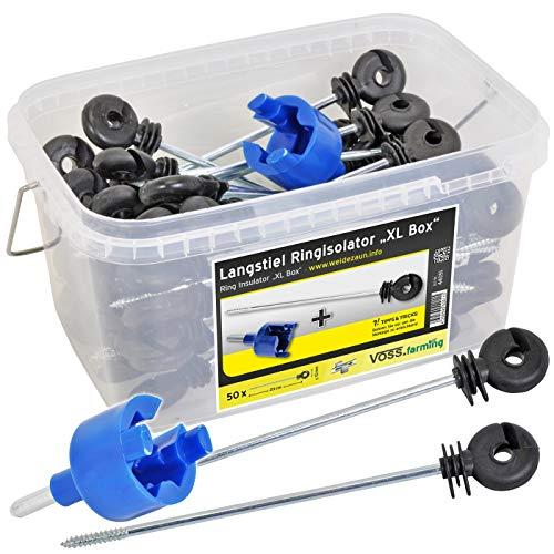 VOSS.farming Langstiel-Ringisolatoren, 50 Stck. Abstandsisolatoren + Einschrauber in Einer Box, für den Elektrozaun, für Draht und Litze