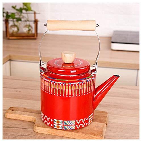 sahadsbv Vattenkokare emalj vattenkokare röd tryckt kastrull 2 L stor kapacitet, med anti-skållning trähandtag tekanna kaffekanna, lämplig för hemmakokare eller spis topp traditionell/retro pip tekanna