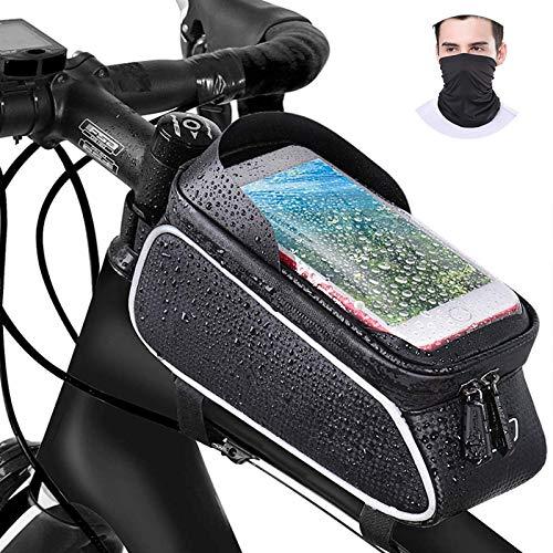 Borsa Telaio Bici Impermeabile, Borsa Porta Cellulare Bici,Borse Tubo Anteriore Bici MTB con Touchscreen TPU e Visiera Solare,Bici Borse di Grande Capacità Adatto per Telefoni Sotto 6.5 Pollici