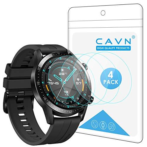 CAVN Proteggi Schermo Compatibile con Huawei Watch GT 2 46mm Pellicola Protettiva [4-Pezzi] , Protezione Schermo in Vetro Temperato 9H Durezza Anti-graffio Anti-Bolle Protezione per Watch GT 2
