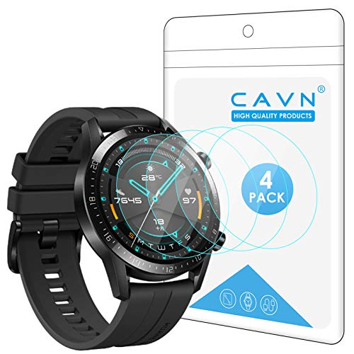 CAVN Panzerglas Kompatibel mit Huawei Watch GT 2 46mm Schutzfolie [4-Stück], (Nicht für GT 2 Pro) Wasserdichtes gehärtetes Glas Anti-Scratch Anti-Bubble Bildschirmschutzfolie Schutz für GT2 46mm