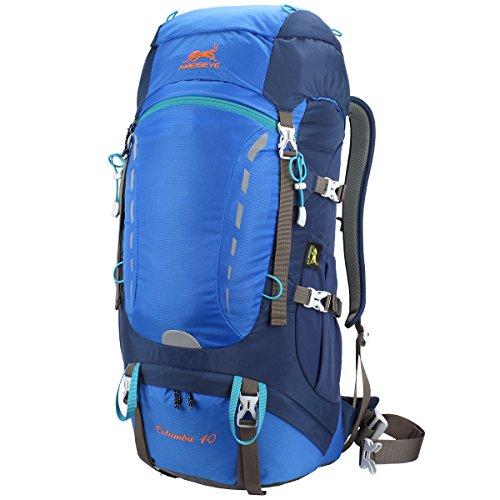 Eshow 40L Mochilas de Senderismo Al Aire Libre de Nailon Impermeable Mochilas.Montaña Mochila de Viaje Para Hombre y Mujer Color Azul