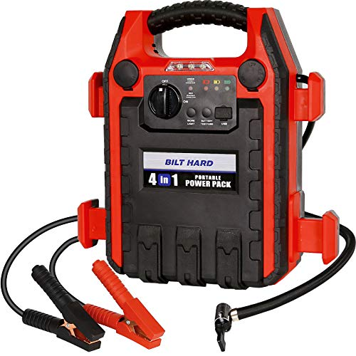 BILT HARD Jump Starter with Air Compressor, 900 Peak/400 Instant Amps, 250 PSI Air Compressor, Portable Power Station with 2.1A USB Port and 12V DC Port