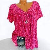 Blusa de manga corta para mujer, cuello en V, para verano, talla 5XL, rojo, S.