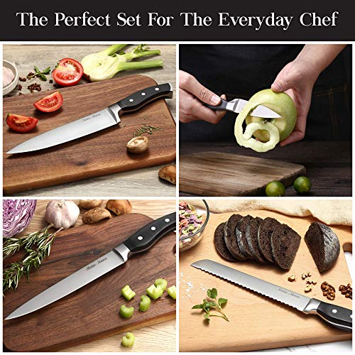 7-Piece Premium Kitchen Knife Set With Wooden Block | Master Maison German Stainless Steel Cutlery With Knife Sharpener (Black)