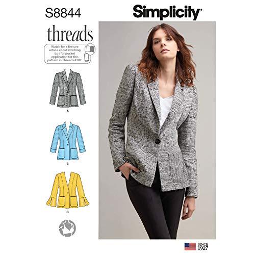 Simplicity Schnittmuster S8844 Miss Petite Blazer, ungefüttert, Gr. 44-46-48-52