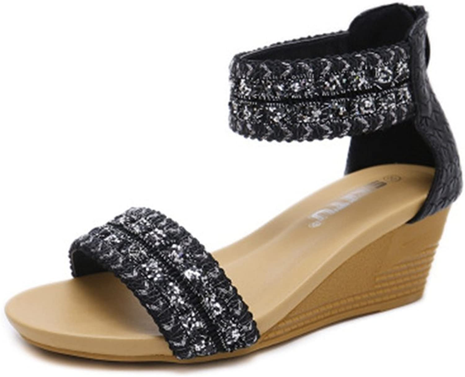 GIY Women's Bohemian Wedges Platform Sandals with Sparkly Sequins Open Toe Zipper Chunky High Heel Sandal