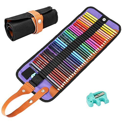 BicycleStore 36 Colored Pencils Set, Professional Wooden Color Pencils Drawing Kit Art Coloring Pencil Sets with Canvas Bag Sharpeners for