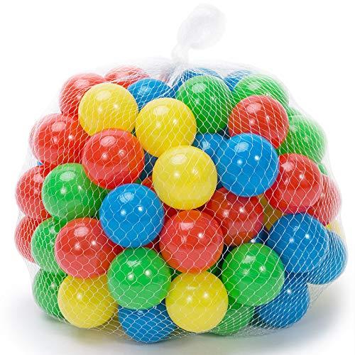 Spielwerk 200x Bolas Pelotas de Colores plástico de 5,5cm para la Carpa / Piscina de Juegos con Bolsa de Transporte para niños