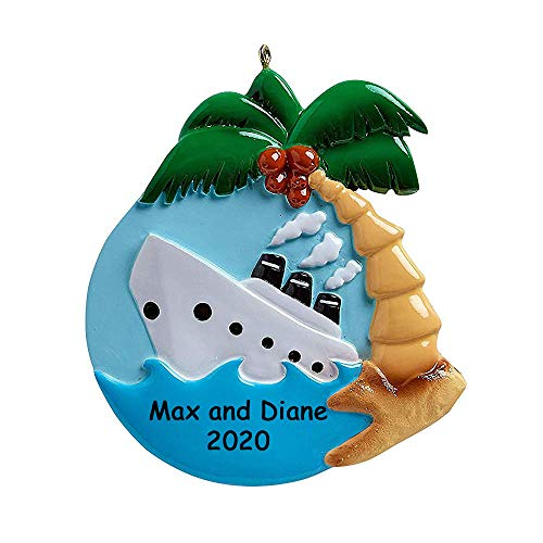 Personalized Cruise Ship Boat Christmas Ornament - Tropical Travelers Tourist Trip Hanging Tree Decoration - Custom Name and Date