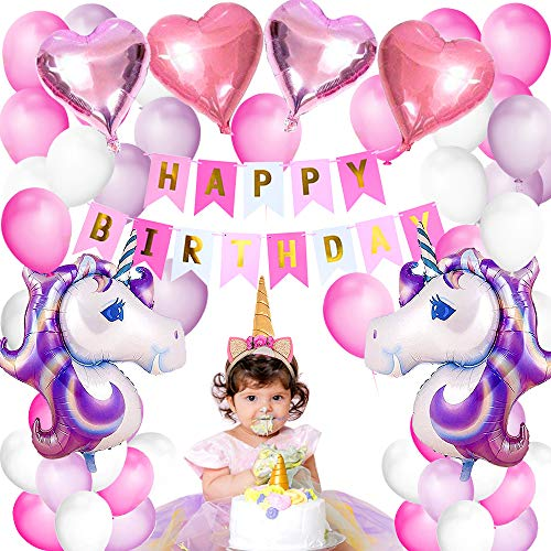 Decoración de fiesta Globos Decoraciones de cumpleaños Suministros para fiestas Bunting Banner Tissue Paper Pom Pink Paper Flowers Garland para niñas en rosa Rainbow Paper Garland (Unicornio)