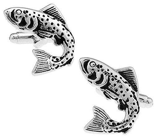 Forellen Manschettenknöpfe in einer luxuriösen Präsentationsbox. Neuheit Fisch. Nautisch. Angeln. Thema Schmuck