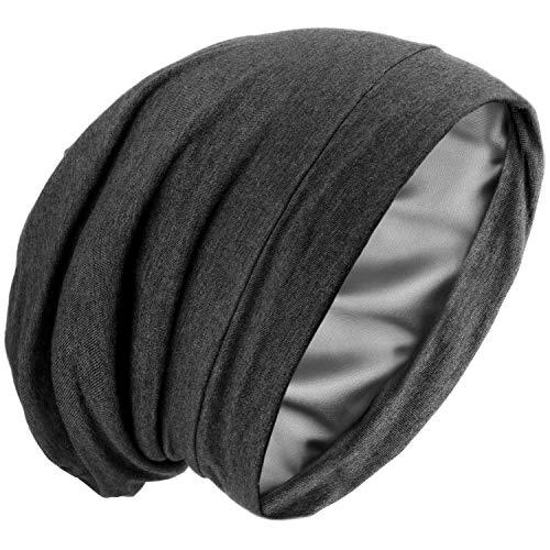 Satin Silk Lined Sleep Cap Frizzy Hair Beanie Adjustable Bonnet Slouchy Skull Night Cap Hair Protection Patients Care Hat Dark Grey