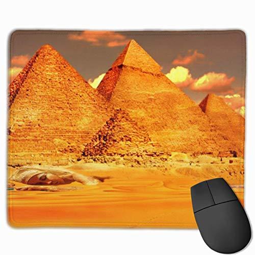 Goldene ägyptische Pyramide Tapete Anti-Rutsch-Persönlichkeit Designs Gaming Mouse Pad Schwarzes Stoff Rechteck Mousepad Art Naturkautschuk Mausmatte mit genähten Kanten