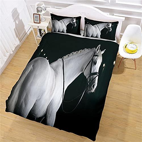 Juego De Funda Nórdica Caballo Animal 3D Impreso Niños Cubierta del Edredón De Microfibra Suave Colcha Dormitorio Cubierta del 220X240Cm