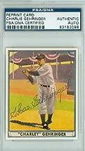 Charlie Gehringer AUTOGRAPH d.93 41 Play Ball Reprints Detroit Tigers PSA/DNA Authentic Slabbed
