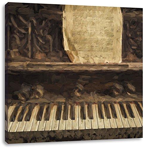 Piano met bladmuziekCanvas Foto Plein | Maat: 40x40 cm | Wanddecoraties | Kunstdruk | Volledig gemonteerd