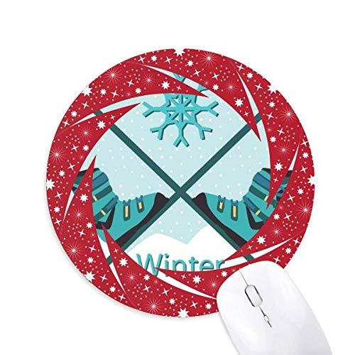 Sport Skischuhe Wasserfarbe Muster Rad Maus Pad Runde Red Rubber