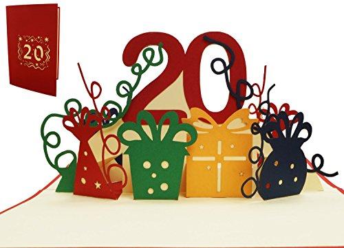 LIN 17531, POP - Up 3D Karten 20 Geburtstag, POP UP Karten Geburtstag, Pop Up Geburtstagskarte, Geburtstagskarte 20 Jahre Jubiläum, Grußkarten 20. Geburtstag, N285