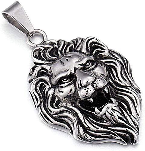 NC190 Collar dominante para Hombres, Personalidad, Marea, Acero de Titanio, Cabeza de león, Colgante, Collar, joyería de Hip Hop