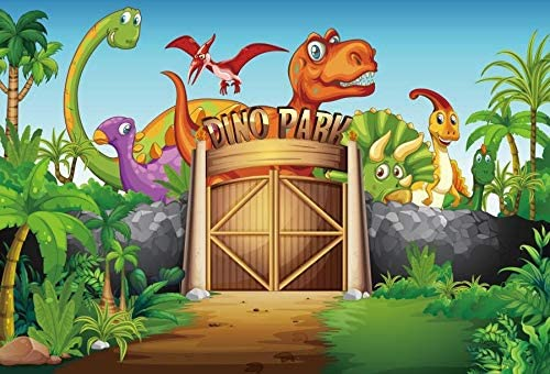YEELE Cartoon Dinosaur Park Backdrop 9x6ft Kids Birthday Decoration Photography Background Dino Theme Kids Acting Show Child Boys Son Artistic Portrait Photobooth Props Wallpaper